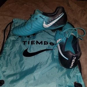 Blue Nike Tiempo soccer cleats